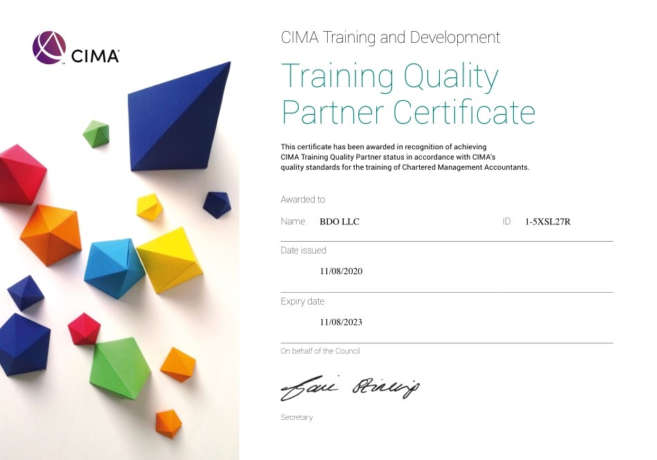 BDO in Ukraine and BDO Consulting in August 2020 obtained the Status of an Accredited Employer CIMA Training Quality Partner (valid until August 2023)